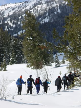 Snowshoeing through the sawtooth Mountains
